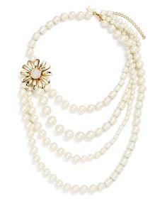 Dazzling Daisies Multi Strand Necklace - Cream/Multi