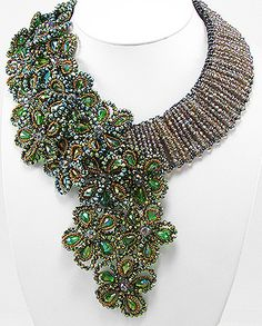 Lady Rock Jewels Beaded Fall Collection will make you the talk of the party! Low plunged blouse would be great with this chunky neckline! Get yours today! Bead Embroidery Jewelry, Beaded Jewelry Patterns, Soutache Jewelry, Bead Jewellery, Seed Bead Jewelry, Stone Jewelry, Beaded Embroidery, Beading Patterns, Jewelry Art