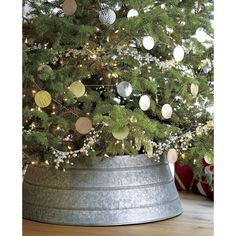 Galvanized Tree Collar in Tree Skirts | Crate and Barrel