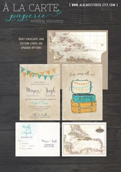 Vintage Suitcases Destination Wedding Invitation and RSVP postcard by alacartepaperie on Etsy https://www.etsy.com/listing/167972764/vintage-suitcases-destination-wedding