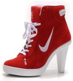 http://www.asneakers4u.com Womens Nike Dunk SB Swoosh High Heel Red White