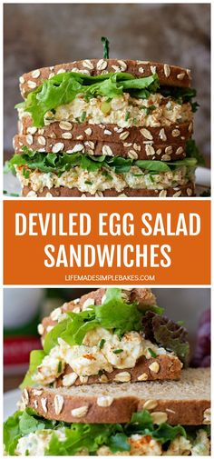 Two classic egg dishes in one! These tangy creamy deviled egg salad sandwiches have the flavor of deviled eggs with the chunkiness of traditional egg salad. Easy Salad Recipes, Egg Recipes, Lunch Recipes, Healthy Dinner Recipes, Cooking Recipes, Healthy Lunches, Vegetarian Cooking, Burger Recipes, Easy Cooking
