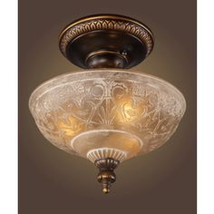 Westmore Lighting�12-in Golden Bronze Frosted Glass Semi-Flush Mount Ceiling Light  - LOVE THIS