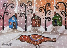Snow Bird 5x7inch ORIGINAL Canvas Panel PAINTING Cabins FOLK ART Karla Gerard #FolkArtAbstractPrimitiveLandscape