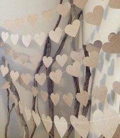 3 Metres Large Natural Shabby Chic Heart Garland - home decor, country chic, wedding, party decoration, baby shower decoration, photo prop via Etsy by denise.su