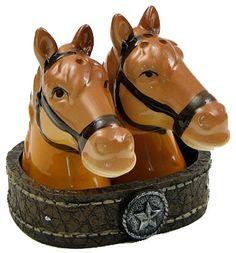 Rustic Horse Head Salt & Pepper Shaker Set