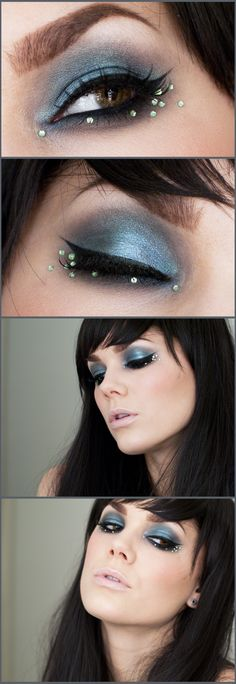 """You can use almost any """"Blue/brown"""" color to dupe this look. Loving the placement of the rhinestones below the eye ~ Linda Hallberg """"Collecting Sunlight"""""""
