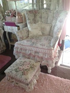 Chair and footrest recovered for the shabby chic look in my motorhome, Lucy.