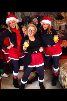 This is such a fun Christmas party pic. And awesome costume idea! Fun Christmas Outfits, Christmas Dress Up, Tacky Christmas, Ugly Xmas Sweater, Christmas Sweaters, Elf Clothes, Christmas Characters, Themed Outfits, Christmas Costumes