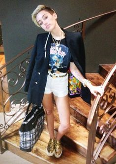 Miley Cyrus media gallery on Coolspotters. See photos, videos, and links of Miley Cyrus. Miley Cyrus 2013, Miley Cyrus Style, Celebrity Pictures, Celebrity Style, Edgy Look, Red Shorts, Games For Girls, Celebs, Celebrities