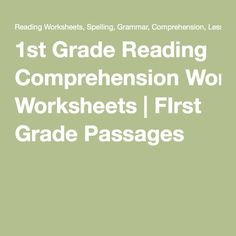 1st Grade Reading Comprehension Worksheets | FIrst Grade Passages