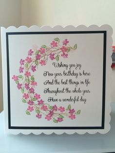 arc created with peg stamps . Birthday Verses For Cards, Handmade Birthday Cards, Happy Birthday Cards, Card Sentiments, Birthday Sentiments, Card Sayings, Pretty Cards, Scrapbook Cards, Scrapbooking