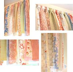 "No-sew Shabby Chic ""Rag"" Valance made with a ""jelly roll""."