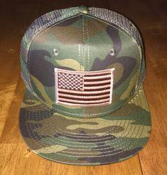 Desert AMERICAN FLAG/CAMO Trucker Hat by RogueCitizenApparel