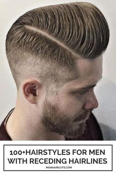 What do you think of a pompadour haircut? These hairstyles for men with receding hairlines will convince you to give them a try. #menrecedinghairline #menpompadourhair #baldingmenhairstyle #menhairstyle #manhaircuts Top Hairstyles For Men, Side Part Hairstyles, Haircuts For Men, Skin Fade Hairstyle, Pompadour Hairstyle, Hairstyles For Receding Hairline, Receding Hair Styles, High And Tight Fade, Modern Pompadour
