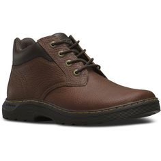 Dr. Martens Esteem Short Lace-Up Low Boot ($110) ❤ liked on Polyvore featuring shoes, boots, ankle booties, teak brown, low ankle booties, low booties, brown lace up ankle booties, short lace up boots and brown ankle booties