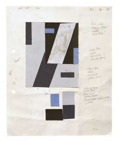 Gordon Walters, Collage study for construction in blue, 1988, acrylic on paper collage. Walters Estate