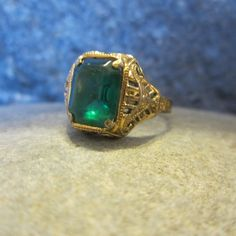 Vintage Uncas Ring,  Green Glass Stone, 14 Karat Gold Filled,  Art Deco Filigree,  1920s Jewelry, Size 8.5 Ring by whitworthspurpledoor on Etsy
