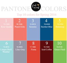 Top 10 Pantone for Spring 2016 |http://www.fabmood.com/top-10-pantone-spring-2016 #pantone #spring2016
