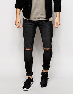 Image 1 of ASOS Super Skinny Jeans With Rips
