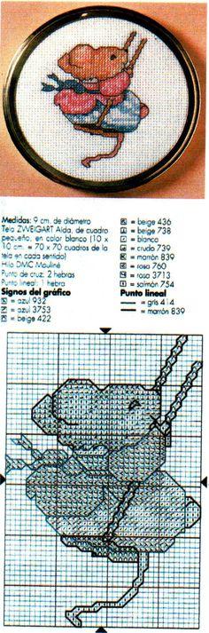Lindo bordado en punto de cruz para la tapa de una cajita! - Cross stitch w/pattern for a box top