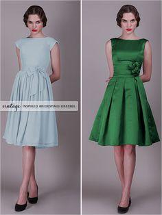 These are great vintagey bridesmaid dresses. http://www.forherandforhim.com/