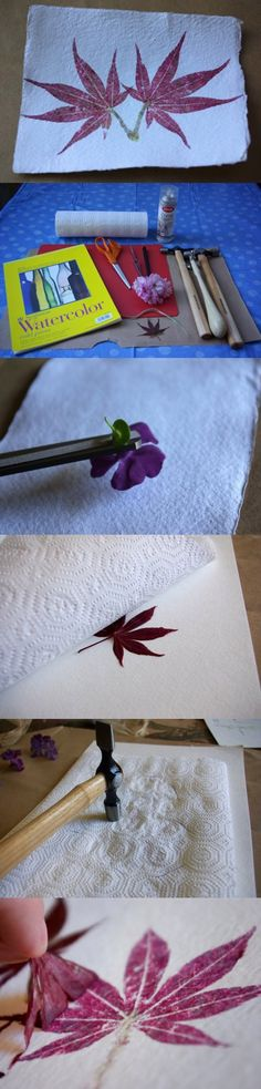 DIY / How-to: Hammered flower and leaf prints ( flowers or leaves, watercolor paper or other rough paper , selection of hammers :: http://buildmakecraftbake.com/2009/04/how-to-hammered-flower-and-leaf-prints.html )