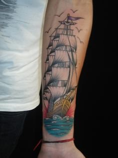 I feel like giant ship tattoos have been following me around lately. I could never pull one off but man do I want to try.