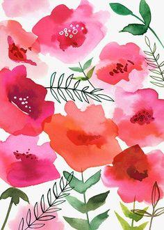 ☮ American Hippie Art ~ Pattern Design Wallpaper .. Vintage Watercolor Poppies: