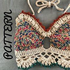 The Mariposa bralette and The Mariposa shorts PATTERN, Crochet bralette pattern, crochet top pattern Bralette Top Pattern Crochet shorts Crochet Motifs, Crochet Shawl, Crochet Lace, Crochet Patterns, Crochet Ideas, Crochet Tops, Crochet Mandala, Bralette Pattern, Bikini Pattern