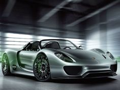 The Porsche Hybrid: The 918 Spyder hybrid from Porsche can get to 60 mph in 3.3 seconds, with a max speed of 218 mph. Based on the same technology used in the Porsche 911 GT3 R Hybrid race car, the 918 Spyder will have 500-horsepower. But you\'ll have to wait a couple of years until Porsche kick-starts production, ideally in late 2013. Here\'s the hitch, only 918 units will be made. Image via Porsche