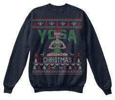 Yoga Christmas Sweaters French Navy Sweatshirt Front