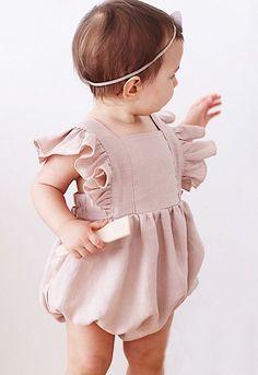 Handmade Powder Pink Linen Vintage Style Baby Romper | RockyRacoonApparel on Etsy