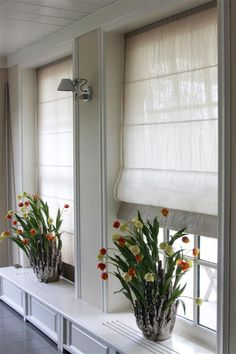 Linen blinds from Romo fabric by RoedesOnline. Window Coverings, Window Treatments, Romo Fabrics, Window Dressings, Curtains With Blinds, Soft Furnishings, My House, New Homes, Windows