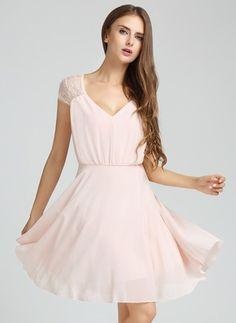 Chiffon Solid Short Sleeve Knee-Length Casual Dresses (1011414) @ floryday.com