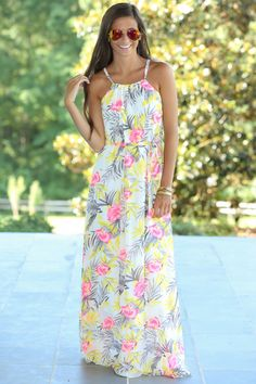 Island In The Sun Maxi Dress-Seashell - New Arrivals | The Red Dress Boutique