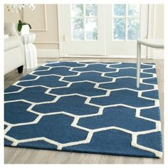 Delmont Texture Wool Rug - Navy Blue / Ivory (6' X 9') - Safavieh, Blue/Ivory
