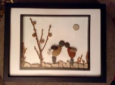 Kissing couple ... Pebble art by Claudia W.