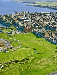 Aerial view of the 18th hole. St. Andrews