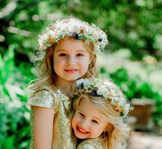 Sister Set Flower Girl Halos -set of dried flower crown Mommy and Me hair wreath Navy Gold Aqua Mint wedding acessories Mother Daughter Flower Girl Halo, Flower Girls, Flower Children, Dried Flowers, Silk Flowers, Mommy And Me Photo Shoot, Halo Setting, Hair Wreaths, Navy Gold