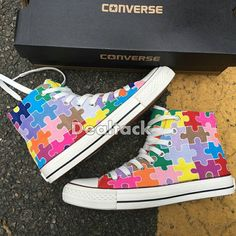 bea08bb531077a Autism awareness puzzle piece shoes in progress. Erinbearin   Etsy ...