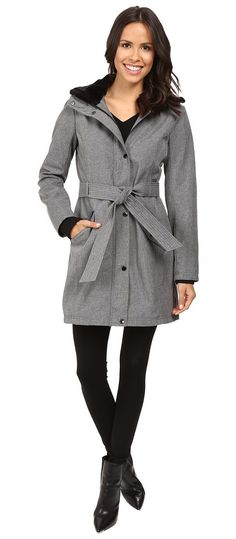 Jessica Simpson Long Softshell w/ Faux Fur Collar and Hood (Heather Grey) Women's Coat - Jessica Simpson, Long Softshell w/ Faux Fur Collar and Hood, JOHMP577-060, Apparel Top Coat, Coat, Top, Apparel, Clothes Clothing, Gift, - Fashion Ideas To Inspire