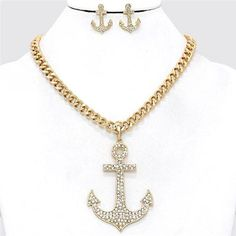Chunky Anchor Charm Gold Chain Necklace Earring Set Fashion Costume Jewelry