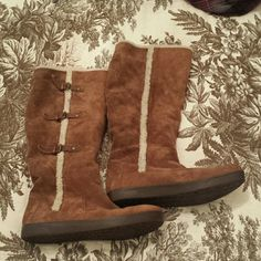 Nine West - suede shearling boots knee high SALE!!!! Brown suede shearling boots knee high - gently used soles like new true to size Nine West Shoes Winter & Rain Boots