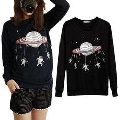 Cute Women Harajuku Saturn Astros Blouse Sweatshirt Shirt Crew Neck T-shirt Tops #EStone #Shirt #Casual