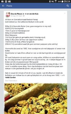 All bran en sonneblomsaad beskuit Kos, South African Recipes, Ethnic Recipes, Rusk Recipe, All Bran, Rain Photography, Bread Rolls, Afrikaans, Cheap Meals