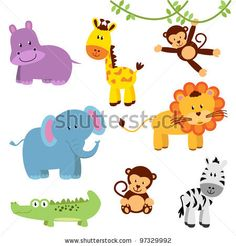 stock vector : Vector Set of Cartoon Zoo and Jungle Animals