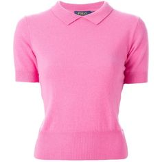 Polo Ralph Lauren Classic Collar Sweater ($151) ❤ liked on Polyvore featuring tops, sweaters, shirts, pink, pink shirts, pink top, collared shirt sweater, shirts & tops e polo ralph lauren sweaters