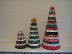 Ribbon Trees - lovely for the christmas table or mantlepiece  - available in 3 sizes  15cm - £5,  22cm - £9  30cm - £12  or buy all 3 for £23  Any colour schemes done please inbox DeeSigns