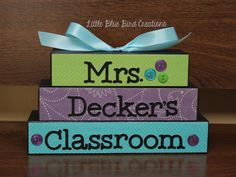 Teacher Classroom stacked wood block set by littlebluebirdcreate, $15.00 (I could totally make this)